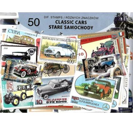 Pakiet filatelistyczny STARE SAMOCHODY 50 znaczkow
