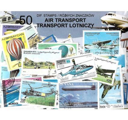 Pakiet filatelistyczny TRANSPORT LOTNICZY 50 znaczkow