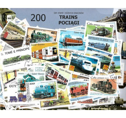 Pakiet filatelistyczny POCIĄGI 200 znaczkow