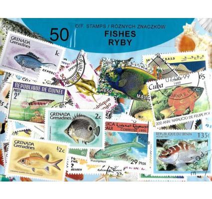 Pakiet filatelistyczny RYBY 50 znaczkow