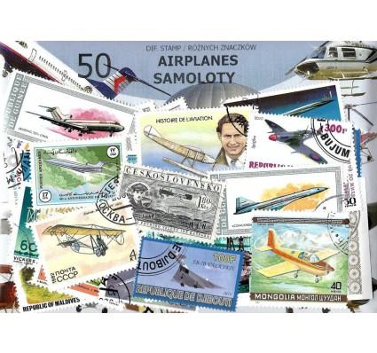 Pakiet filatelistyczny SAMOLOTY 50 znaczkow