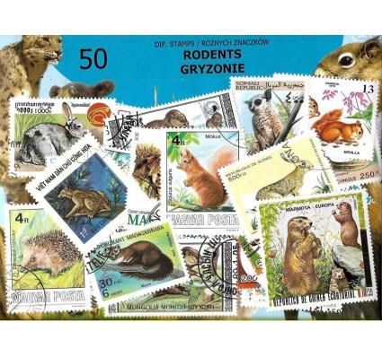 Pakiet filatelistyczny GRYZONIE 50 znaczkow