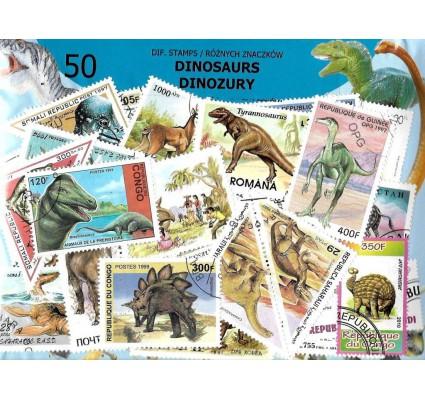 Pakiet filatelistyczny DINOZAURY 50 znaczkow