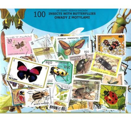 Pakiet filatelistyczny OWADY Z MOTYLAMI 100 znaczkow