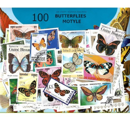 Pakiet filatelistyczny MOTYLE 100 znaczkow