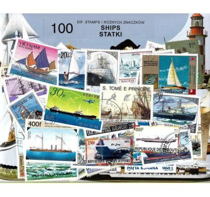 Pakiet filatelistyczny STATKI 100 znaczkow