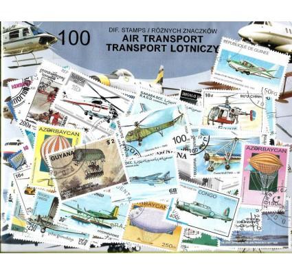 Pakiet filatelistyczny TRANSPORT LOTNICZY 100 znaczkow