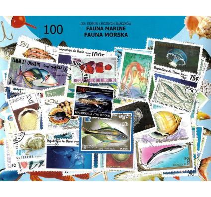 Pakiet filatelistyczny FAUNA MORSKA 100 znaczkow