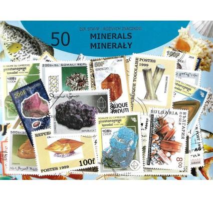 Pakiet filatelistyczny MINERAŁY 50 znaczkow