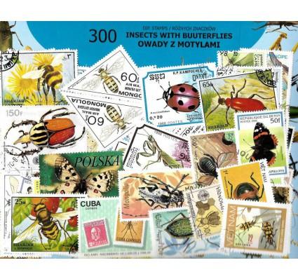 Pakiet filatelistyczny OWADY Z MOTYLAMI 300 znaczkow