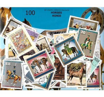 Pakiet filatelistyczny KONIE 100 znaczkow