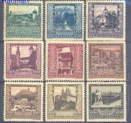 Znaczek Austria 1923 Mi 433-441 Z podlepką *