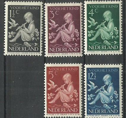 Znaczek Holandia 1938 Mi 322-326 Z podlepką *