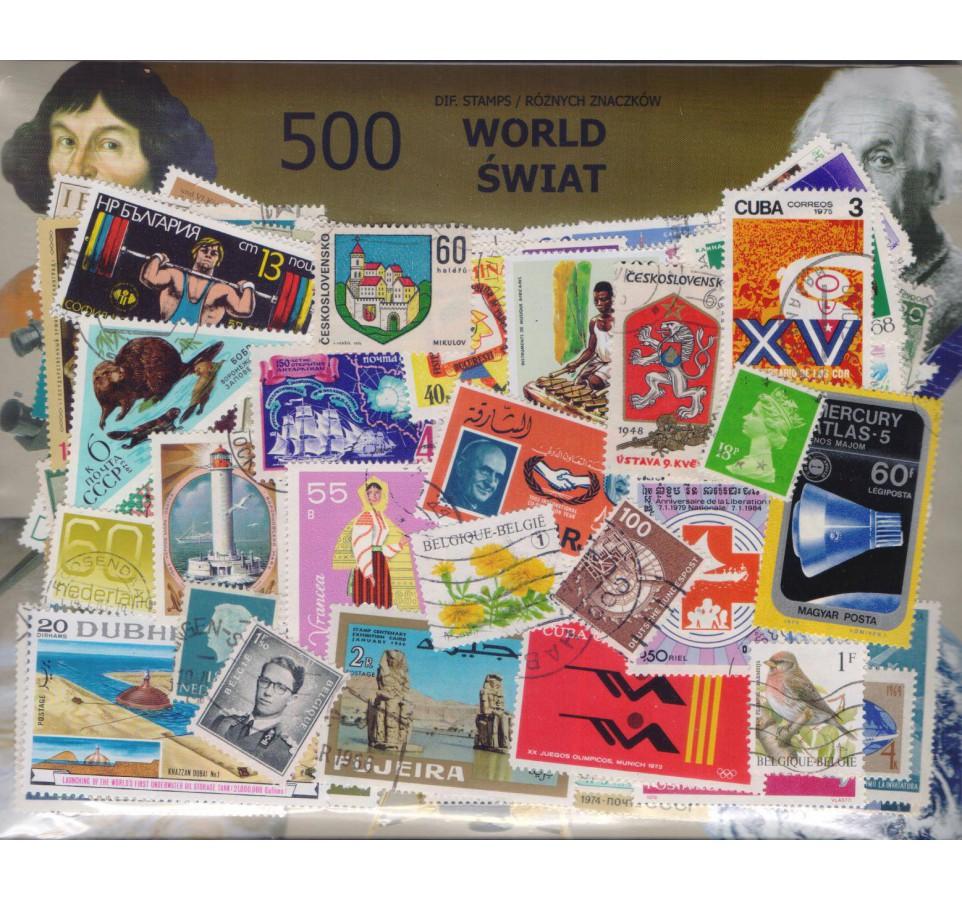 Pakiet filatelistyczny ŚWIAT 500 znaczków