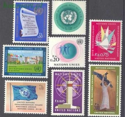 Znaczek Narody Zjednoczone Genewa 1969 Mi 1-8 Czyste **