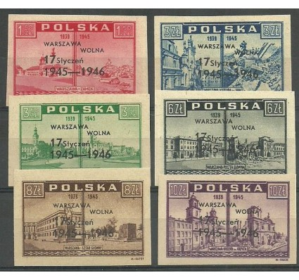 Polska 1946 Mi 421-426 Fi 388-393 Czyste **