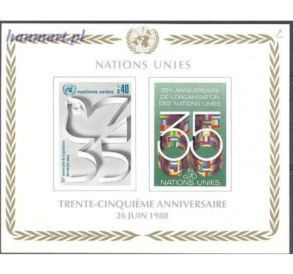 Znaczek Narody Zjednoczone Genewa 1980 Mi bl 2 Czyste **