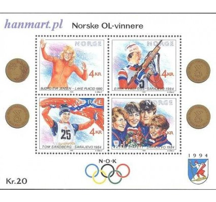Znaczek Norwegia 1989 Mi bl 12 Czyste **