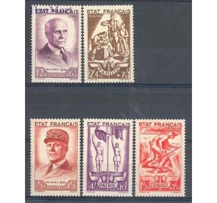 Znaczek Francja 1943 Mi 589-593 Z podlepką *