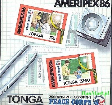Znaczek Tonga 1986 Mi bl 7 Czyste **