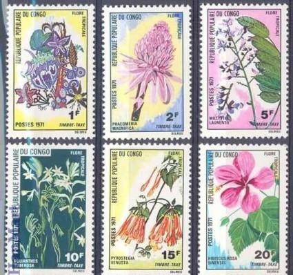 Znaczek Kongo 1971 Mi 13-18 Czyste **