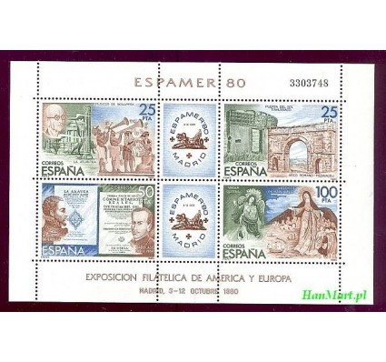 Znaczek Hiszpania 1980 Mi bl 21 Czyste **