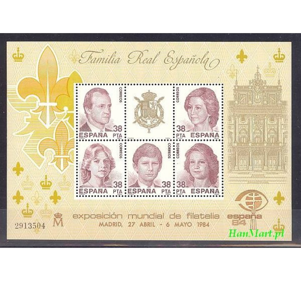 Hiszpania 1984 Mi bl 27 Czyste **