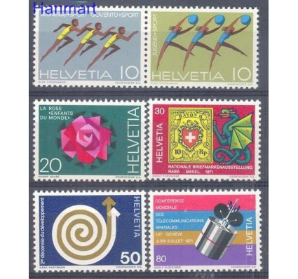 Znaczek Szwajcaria 1971 Mi 940-945 Czyste **