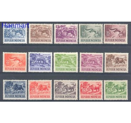 Znaczek Indonezja 1956 Mi 171-185 Czyste **