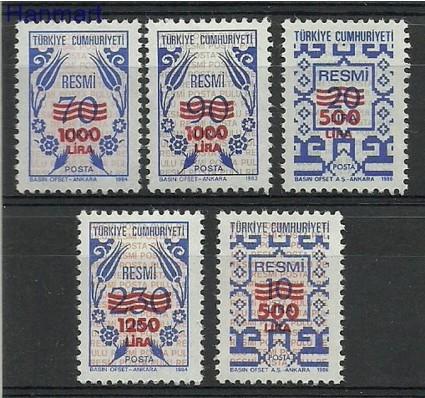 Turcja 1989 Mi die 187-191 Czyste **