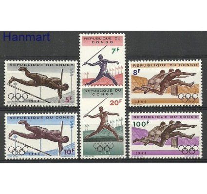 Znaczek Kongo 1964 Mi 169-174 Czyste **