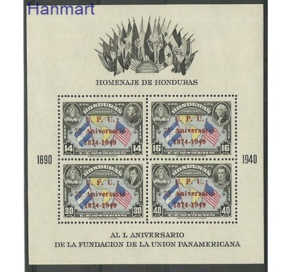 Znaczek Honduras 1951 Mi bl 3 Z podlepką *