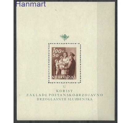 Znaczek Chorwacja 1945 Mi bl 9 Z podlepką *