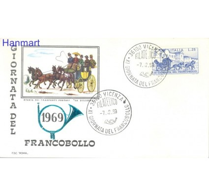 Znaczek Włochy 1969 Mi 1302 FDC