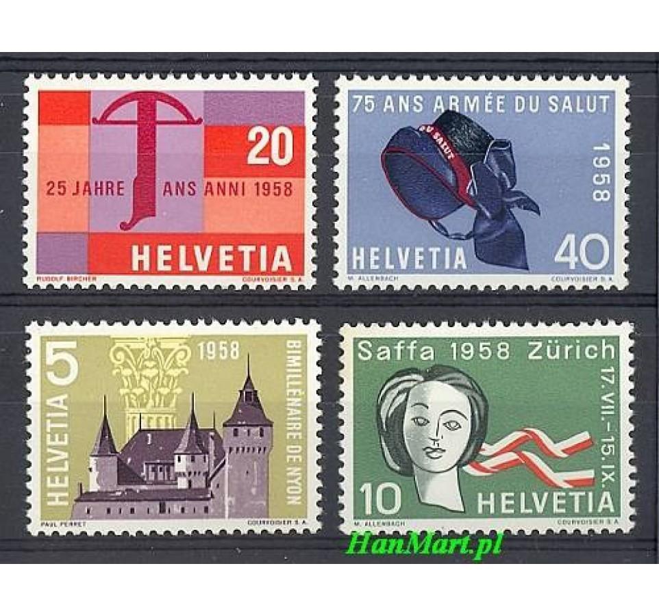 Szwajcaria 1958 Mi 653-656 Czyste **