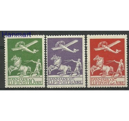 Znaczek Dania 1925 Mi 143-145 Z podlepką *