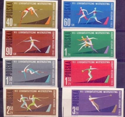 Polska 1962 Mi 1338-1345B Fi 1190-1197A Czyste **