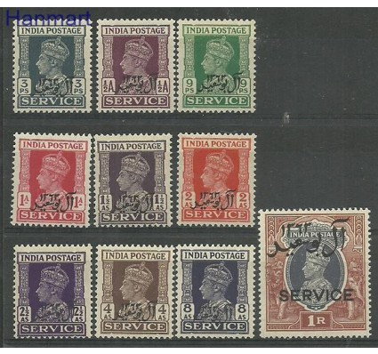 Znaczek Indie 1944 Mi die1-10 Czyste **