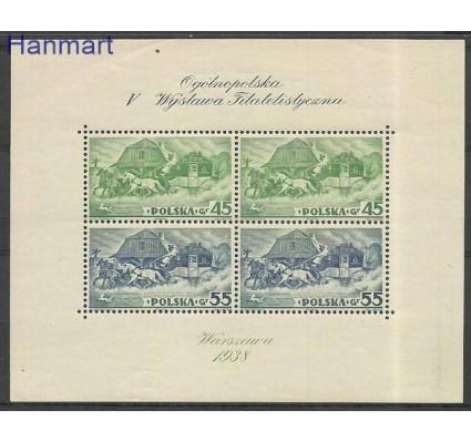 Znaczek Polska 1938 Mi bl 5 Fi bl 5 Z podlepką *